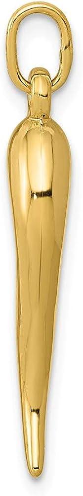 Diamond2Deal 14k Yellow Gold Italian Horn Pendant for Women