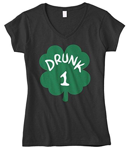 Cybertela Women's Drunk 1 Green Four Leaf Clover Fitted V-Neck T-Shirt (Black, Small)