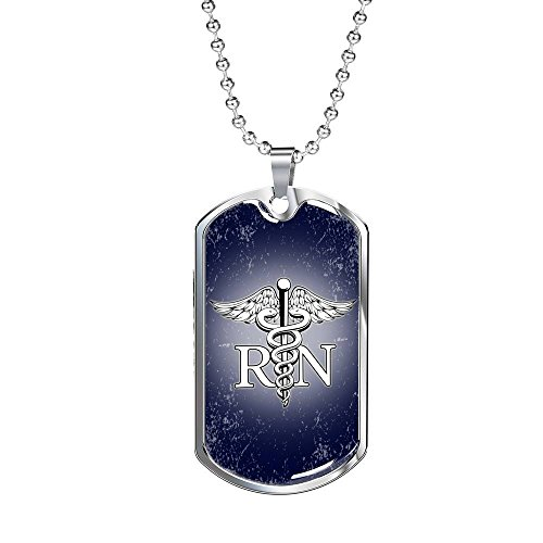 (Express Your Love Gifts Nurse RN Stainless Steel Silver Tone or 18k Gold Luxury Dog Tag Necklace w 24