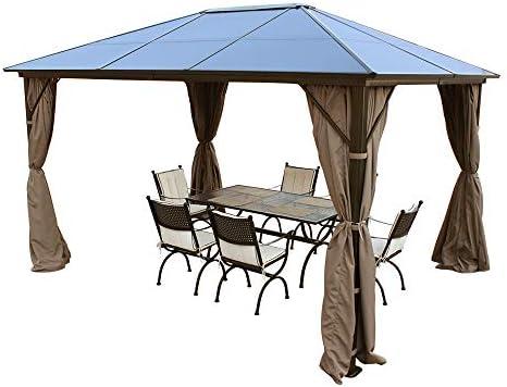 Volowoo - Cenador Permanente con Cortinas (3 x 4 m, policarbonato ...