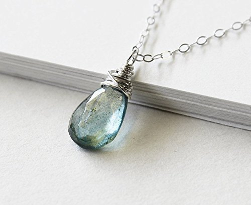 Moss Aquamarine Necklace - Moss aquamarine necklace, march birthstone jewelry, mossy blue genuine aquamarine solitaire pendant, dainty sterling silver jewellry