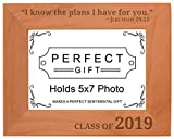 Personalized Gifts Graduation Gift Christian Verse Class of 2019 Natural Wood Engraved 5x7 Landscape Picture Frame Wood