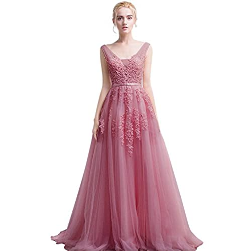 Babyonlinedress Womens Lace Midi Bridesmaid Wedding Party Prom Dresses (Dusty Pink,2)