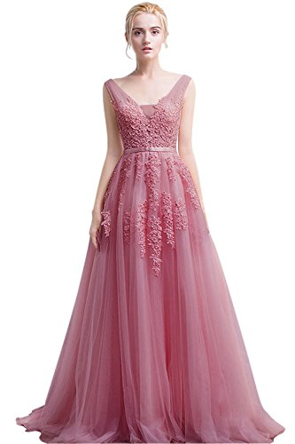 Women's Plunging V-Neck Lace Illusion Bridal Prom Evening Dress (Dusty Pink,10)