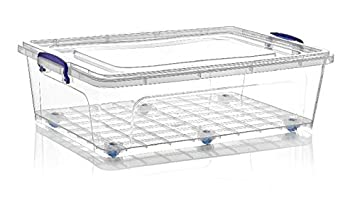 2 X Large 40 Litre Heavy Duty Clear Plastic Underbed Storage Box