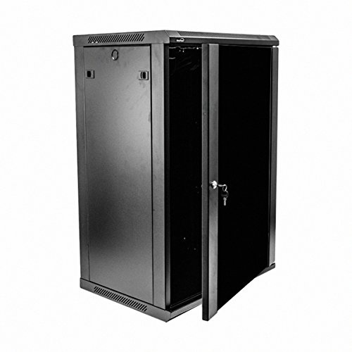 Navepoint 18U Deluxe IT Wallmount Cabinet Enclosure 19-Inch Server Network Rack With Locking Glass Door 16-Inches Deep Black