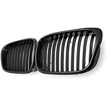 Anzio Pair Double Slat Line Gloss Black Front Kidney Grill Front Grille For BMW 5 Series E39 520 523 525 528 530 535 540 M5 1997-2003