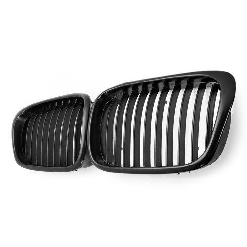 2x Euro Front Center Kidney Grille Grill For 97-03 BMW E39 5-Series 520 523 525 528 530 535 540 M5 4DR 4 Door (Matte Black)