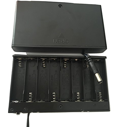 50ea 8XAA or 8XLR6 battery holder battery box 12V with a slide cover a switch 300mm wires and Dia.5.5X2.1mm connector