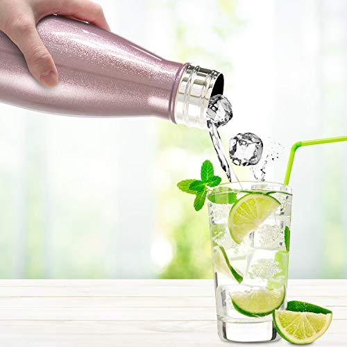Sportneer Botella de Agua, Botella Doble Pared Aislada al Vacío de Acero Inoxidable, Botella de Agua, BONOS Cepillo de Limpieza y Funda de Botella (Oro Rosa, 500ml)