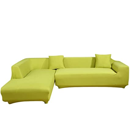 Brilliant Eleoption Sectional Sofa Slipcover Couch Cover Universal Stretch Fabric Sofa Slipcover 2Piece For Sectional Sofa L Shape Couch Protector Gift Pillow Machost Co Dining Chair Design Ideas Machostcouk