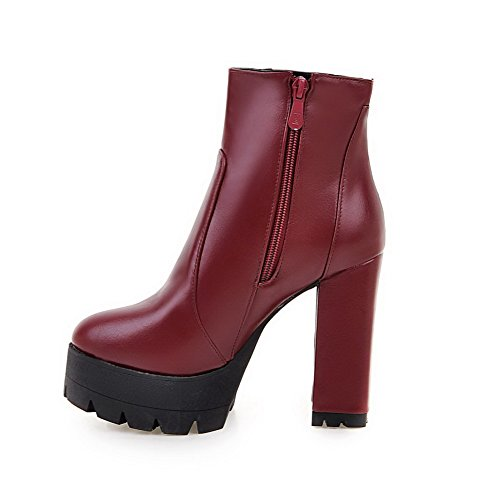 Red Boots High Solid Toe AmoonyFashion Heels Women's Low Closed Top Round CqxCnFwfBU