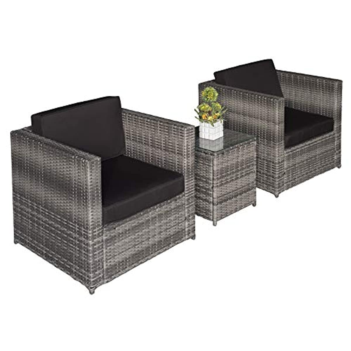 Details about outdoor rattan sofa set 3 piece garden patio balcony modern furniture chairs new