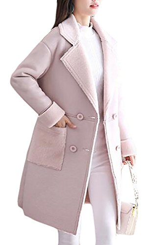 Thick today Parkas Warm Lined Pink UK Lamb Winter Women Coats Wool qrwSp8q
