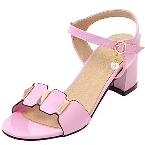 Pink Pearl Buckle Slingback Block TAOFFEN Women Classic Patent Sandals Summer Heel qFwq4IXvcx