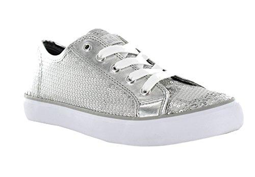 Gotta Flurt Disco II Lace Up Low Top Sneaker, Silver, 7