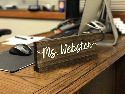 Handmade in USA - Personalized Desk Name Plate/Teacher Desk Sign/Doctor name plate/Wood Teacher Name Plate/Custom Office Name Sign/Gift For Teachers