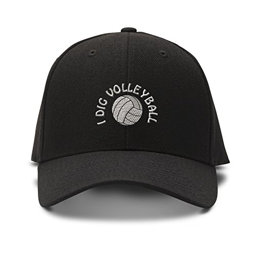 Speedy Pros I Dig Volleyball Embroidered Unisex Adult Hook & Loop Acrylic Adjustable Structured Baseball Hat Cap - Black, One Size ()