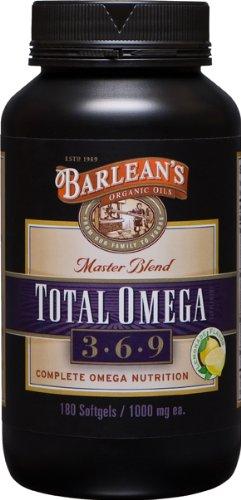 Barlean's Organic Oils Total Omega 1000 mg Softgels, 180-Count Bottle
