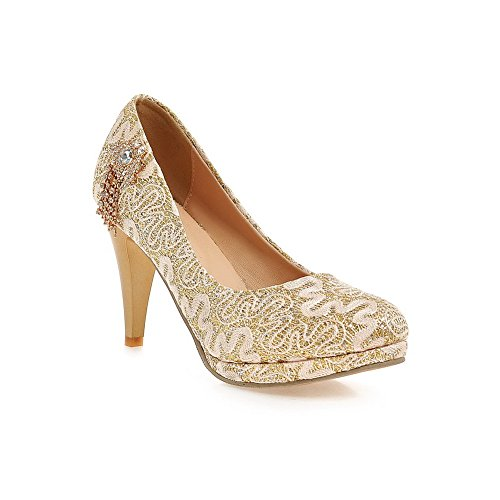 AmoonyFashion Womens High-Heels Soft Material Solid Pull-on Round Closed Toe Pumps-Shoes Gold OzYBVxofe