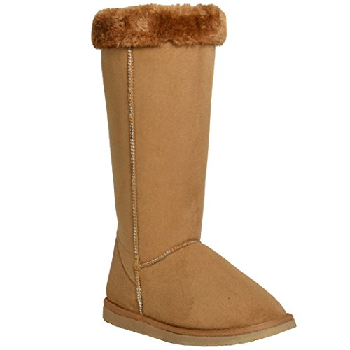 Generation Y Womens Mid Calf Boots Fur Cuff Trimming Casual Pull on Shoes Tan SZ 8