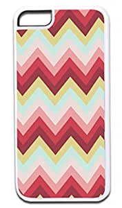 Pastel Color Tones- Chevron Pattern - Iphone 5C plastic WHITE case - compatible with iPhone 5C only - CHOOSE YOUR COLOR