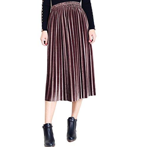 MISYAA Gold Velvet Skirts for Women, High Waisted Mid-Calf Pleated Long Skirt Banquet Wedding Party Novelty Swing Skirt Coffee