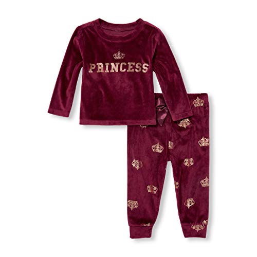 Girls Baby Velour Sleep Set, Sugar Beet, 3T ()