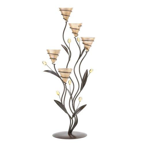 Koehler Home Decorative Accent Tabletop Centerpiece Golden Bouquet Candleholder (Glass Table Tops Online)