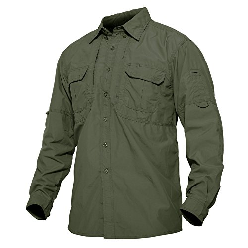 Drying Hiking Shirts Breathable Long Sleeve Rip-Stop Cargo Shirts Outdoor Military Shirt Army Green ()