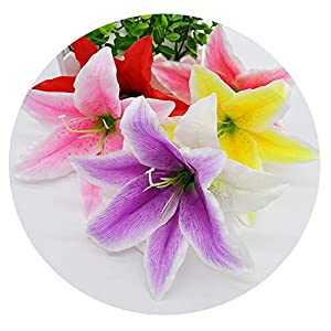 Zalin Silk Lily Artificial Flower Head for Wedding Decoration DIY Garland Decorative Floristry Fake Flowers 112