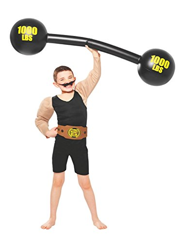 Costume Strong Man (Boys Old-Timey Strong Man Halloween Costume with Inflatable Bar Bells)