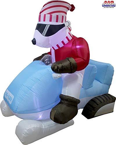 6' Air Blown Animated Inflatable Polar Bear on Snow Mobile Christmas Yard Decoration (Decorations Christmas Mobile)