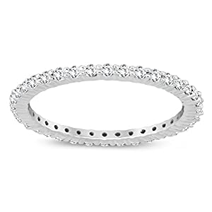 Szul AGS Certified 1/2 Carat TW Diamond Eternity Band in 10K White Gold (K L Color, I2 I3 Clarity)