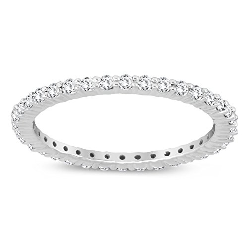 Diamond Eternity Cut Ring Band (Szul AGS Certified 1/2 Carat TW Diamond Eternity Band in 10K White Gold (K-L Color, I2-I3 Clarity))