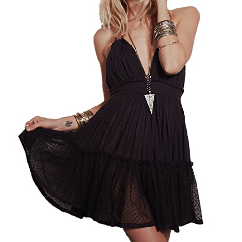 ForeMode Summer Dress 2018 Bohemian Women Mini Dress Backless Beach Dress Holiday Boho Strapless Sexy Ball Gown Hippie Chic Dress(Black,S) ()