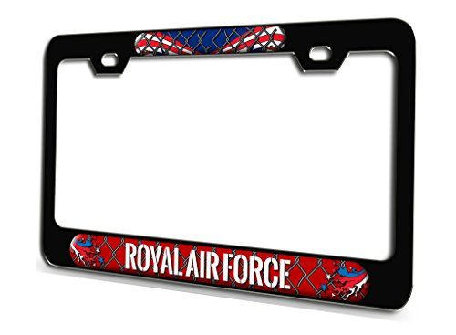 ROYAL AIR FORCE Aviation Pilot Black Steel License Plate Frame 3D Style