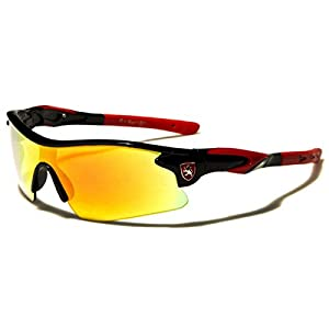Half Frame Kids Teen Age 8-16 Performance Baseball Cycling Running Sport Sunglasses Color Mirrored Lens(Black/Red Tips)
