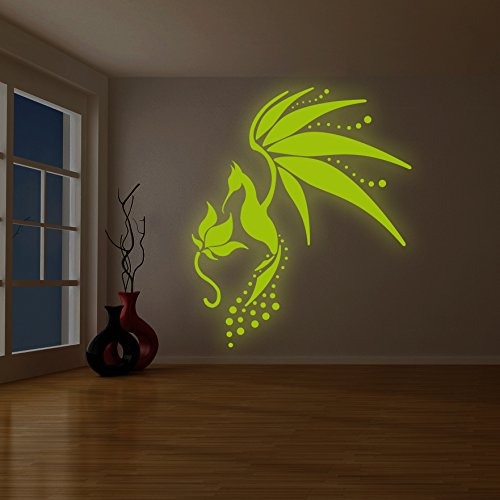 ( 75'' x 87'' ) Glowing Vinyl Wall Decal Fairy Tail Bird / Glow in the Dark Art Decor Sticker / Fantasy Luminescent Mural Kids Room + Free Decal Gift! by Slaf Ltd.
