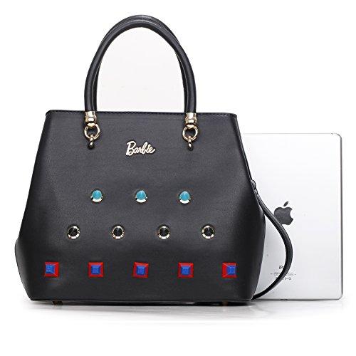 Barbie Bolso bandolera y baguette elegante de estilo chicas bolso casual con diamantes y cristal para mujer BBFB564 34x27x14CM negro