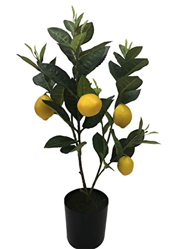 Home Artificial Lemon Fruits Tree Indoor Decorative Lifelike Potted Plant Fake Yellow Lemons in Plastic Planter 19.7