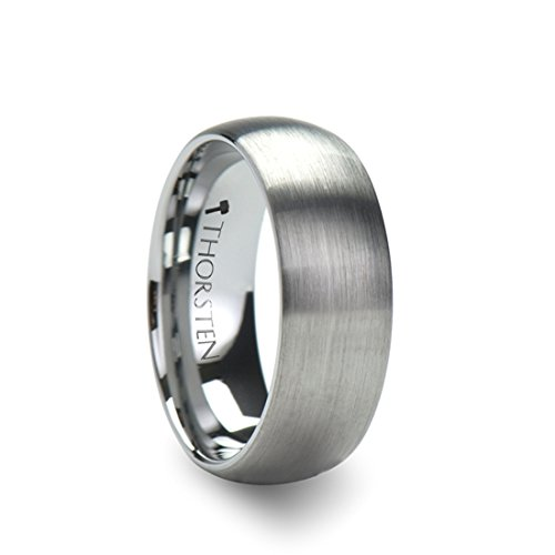 Thorsten Perseus Brushed Rounded Domed Tungsten Ring - 7mm Wide Wedding Band with Custom Inside Engraved Personalized from Roy Rose Jewelry