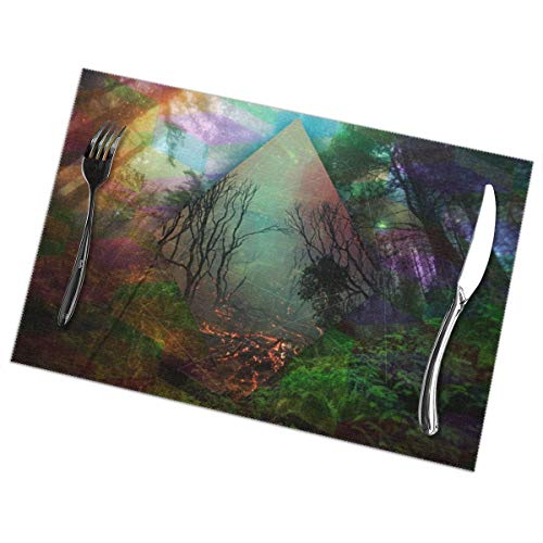 Placemats for Dining Table Set of 6 Fantasy Forest Wear-Resistant Heat-Resistant Kitchen Table Mats 18
