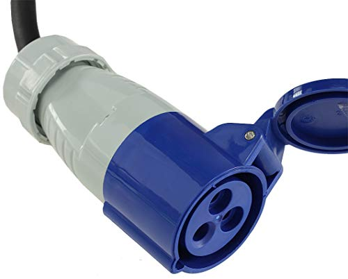 413eFj 9tIL CEE Adapter Kabel 1,5M Kupplung auf Schutzkontakt Stecker IP44 spritzwassergeschützt 230V / 16A 3-polig für Camping…
