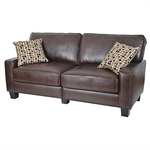 "Serta RTA Palisades Collection 78"" Bonded Leather Sofa in Chestnut Brown"
