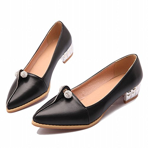 Latasa Womens Chic Pointed-toe Low Chunky Heel Pumps Shoes Black am0T7Vbbc