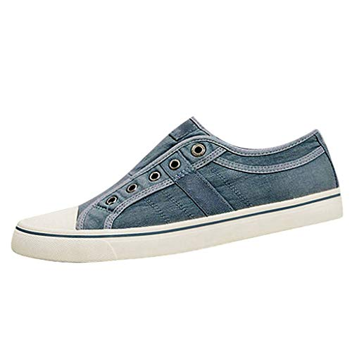 Yucode Women Flat Canvas Shoes Casual Walking Sneaker Single Shoes Fashion Flat-Bottomed Breathable Sport Sneakers Blue Abbey 6 Light Single