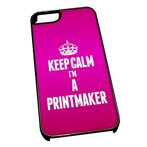 Nero cover per iPhone 5/5S 2654rosa Keep Calm I m A Printmaker