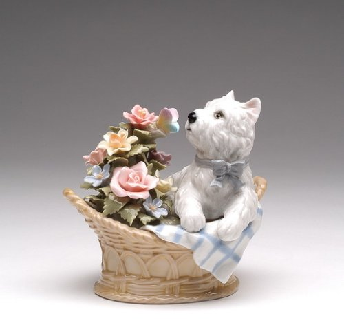 Cosmos Gifts Fine Elegant Porcelain Westie Western Terrier Dog in Basket with Butterfly and Rose Flowers Music Box Musical Figurine (Tune: You've Got a Friend), 5-3/8
