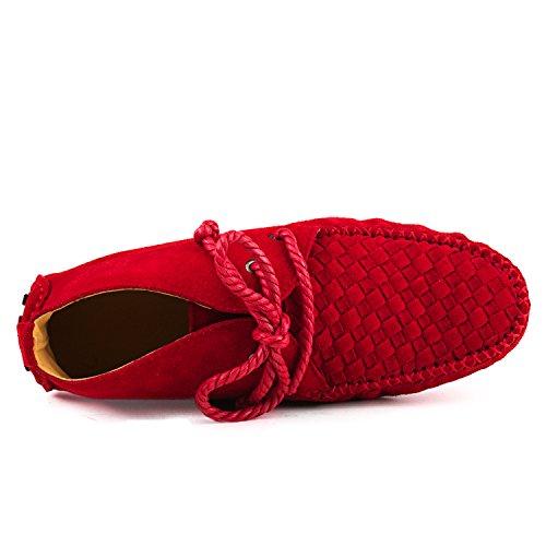 Shenduo Zapatos Casuales - Mocasines de cuero con cordones de moda de cordones para mujer D7258 Rojo